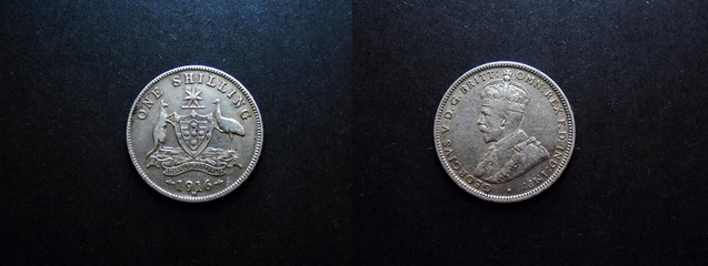 0ne Shilling Vintage Silver Coin 1916.