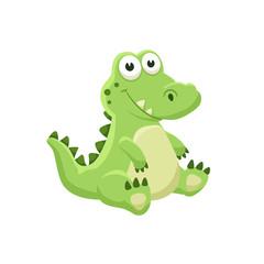 Cute cartoon crocodile. Illustration of sitting alligator isolated on white background.