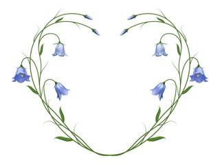 Реалистичные колокольчики, символ любви и честности, рамка-сердце