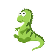 Adorable iguana illustration. Cute cartoon animal isolated on white background.