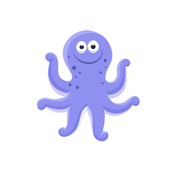 Adorable octopus illustration. Cute cartoon animal isolated on white background.