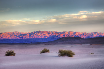 Sands, Mountain, Sunset glow, Death Valley National Park