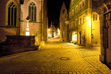 Cobblestone Street, Night, Rothenburg ob der Tauber, Germany