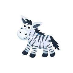 Adorable zebra illustration. Cute cartoon animal isolated on white background.