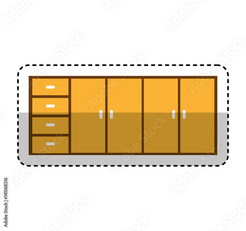 """Kitchen Cabinet Isolated Icon Vector Illustration Design"