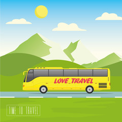 Yellow bus goes on the highway. Mountains, road and clouds landscape vector illustration