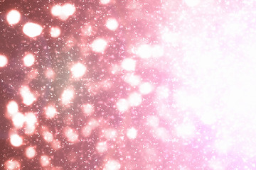 Red  Abstract Festive Background with circles, glitter or bokeh lights. Round defocused particles. Valentines day template
