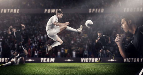 Brutal Soccer action on 3d sport arena. mature players with ball in black and white uniform