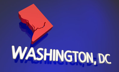 Washington DC District of Columbia Map Name 3d Illustration