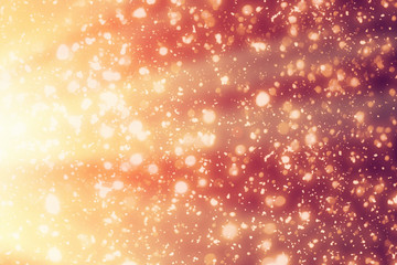 Red Christmas Background with Golden circle glitter or bokeh lights. Round gold defocused particles