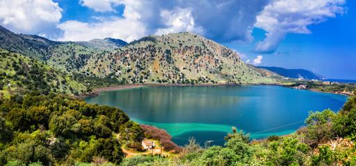 The beautiful Lake Kournas in Chania Crete . Greece