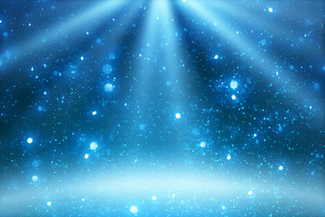 Stage light and blue glitter lights on floor. Abstract Christmas  festive background for display your product. Spotlight realistic ray