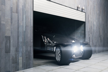 Garage with vehicle side