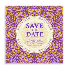 Vintage template design layout for Wedding invitation.