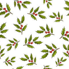 Seamless vector pattern with hand drawn tree branches