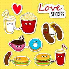 Fast food funny love stickers. Cute cartoon emoticons. Vector illustration.