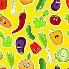 Cartoon vegetable cute characters face seamless vector illustration. Cartoon face food emoji. Vegetable emoticon. Funny food icons.
