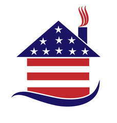 House american USA flag shape logo