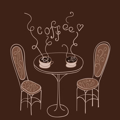 Hand drawn coffe on the table.