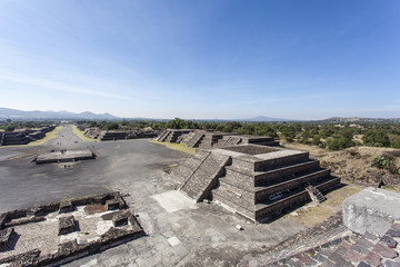Plaza de la Luna square and the pyramid of the Sun (Piramide del Sol) in Teotihuacan, Mexico - North America
