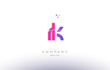 rk r k  pink modern creative alphabet letter logo icon template