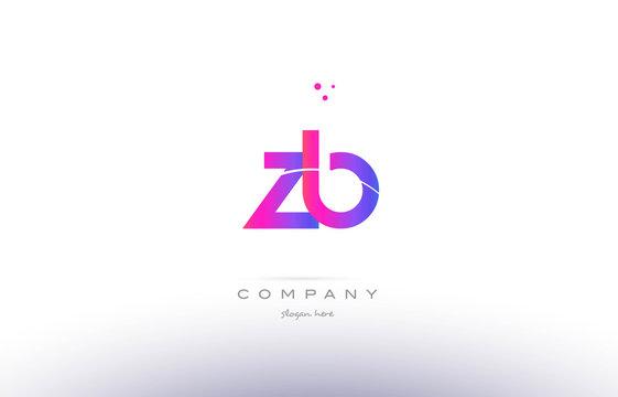 zb z b  pink modern creative alphabet letter logo icon template