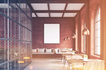 Front view of cafe with chairs, brick, toned