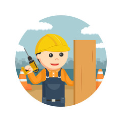 construction worker with drill and wood plank in circle background