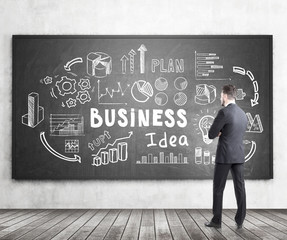Bearded man looking at business idea