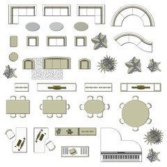 Set top view for interior icon design. Elements 