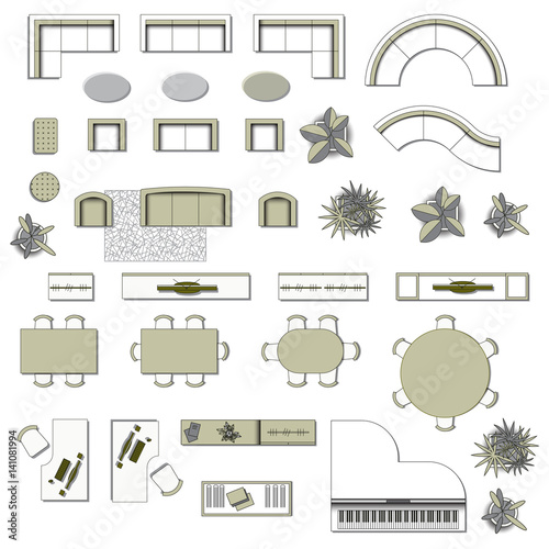 Set top view for interior icon design elements living for Free online room planner no download