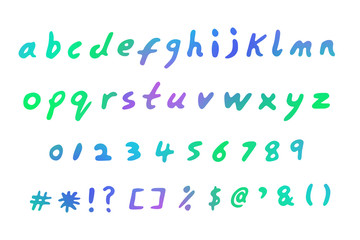 Handwritten lettering of the alphabet, illustration. Numbers 0 to 9 and common symbols included.