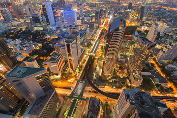 Night aerial view city central business downtown cross road, cityscape background
