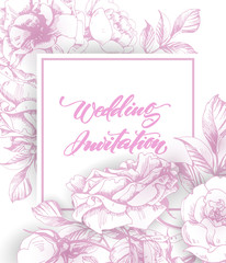 Vintage wedding invitation with roses. Save the date design. Hand drawn illustration. Vector template