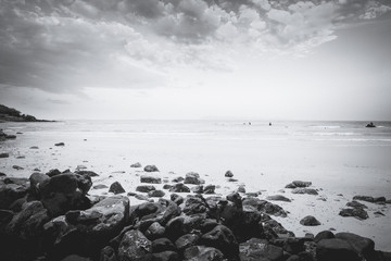 Black and white photo of tropical seaside (seascape) in summer. vintage feeling style.