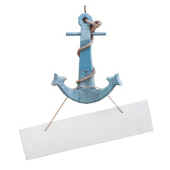 Vintage anchor with tag isolate on white