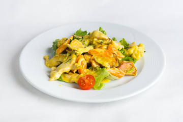 Plate of salad on white background