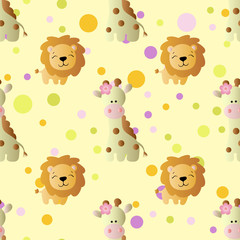 pattern with cartoon cute baby giraffe and lion