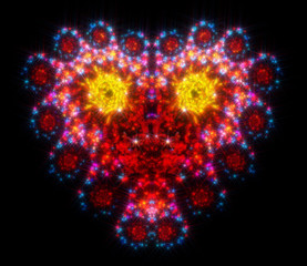 The symbol for the celebration of Halloween in the form of terrible demonic heart. Fractal art graphics