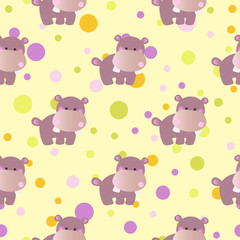 pattern with cute baby behemoth and Circles
