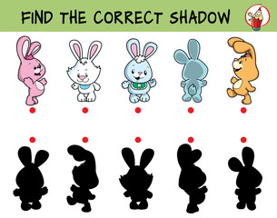 Cute little rabbits. Find the correct shadow. Educational game for children. Cartoon vector illustration.