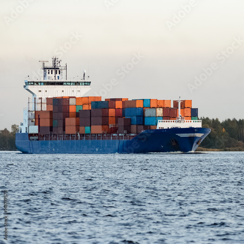 Blue Container Ship Moving To Baltic Sea Riga Latvia