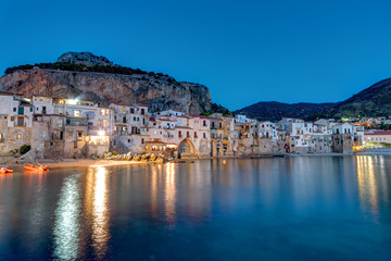 The old town of Cefalu in Sicily after sunset