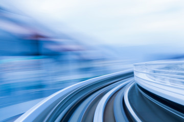 Soft blurred motion moving train, abstract background