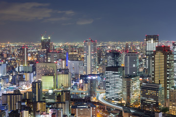 Night lights, Osaka office business downtown, Japan