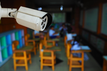 CCTV monitoring, security cameras in a school