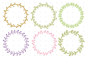 Set of doodle floral and leaf circle frames.illustration vector