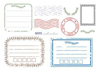 Blank postal stamps and foliage set.illustration vector