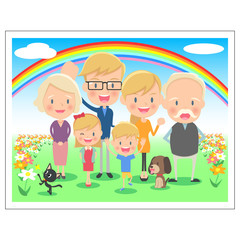三世代 家族の記念写真 虹