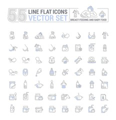 Vector graphic set. Icons in flat, contour, thin, minimal and linear design.Breastfeeding, motherhood, natural nutrition of the newborn.Concept illustration for Web site, app.Sign,symbol,element.